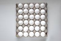 Top view of a Package Cardboard Egg Holder Egg Tray with eggs