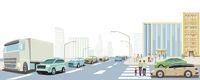 Road traffic in a big city, illustration