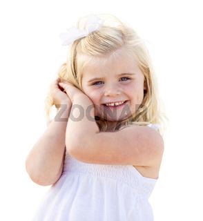 Adorable Little Blonde Girl Having Portrait Isolated