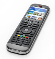 Generic modern smart TV remote control with color display. 3D illustration
