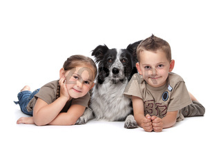 Two kids and a dog