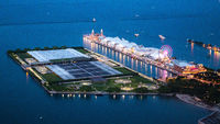 Navy Pier in Chicago - aerial view by night - CHICAGO, USA - JUNE 12, 2019
