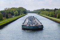 Oil and Gas Tanker on the Datteln-Hamm-Canal, Bergkamen, Ruhr area, Westphalia
