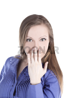 bright picture of young woman with hands over mouth