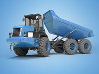 Construction machinery blue dump truck unloads from the trailer 3d rendering on blue background with