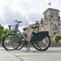 Bicycle of the public bicycle rental system of the city of Berlin Nextbike