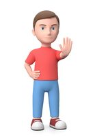 Angry Young Kid Stop Gesture 3D Illustration