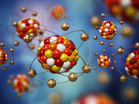 Abstract molecule model consisting of colored spheres. 3D illustration