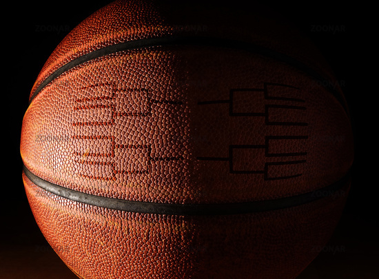 Closeup of a basketball with a tournament bracket