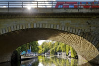 Landwehr Canal Lower Lock with viaduct and local train, Tiergarten, Mitte, Berlin, Germany, Europe