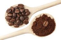 Coffee beans and coffee powder
