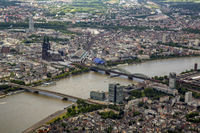 City view on the banks of the river course of the Rhine in the district Innenstadt in Cologne
