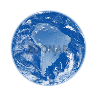 South America on blue Earth