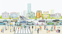 City with road traffic, apartment buildings and pedestrians on the zebra crossing Illustration