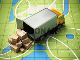 Transport van with cargo boxes standing on GPS map. 3D illustration