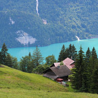 Turquoise Lake Brienz and Giessbach Falls seen from Planalp.