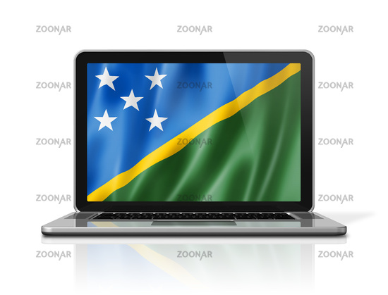 Solomon Islands flag on laptop screen isolated on white. 3D illustration