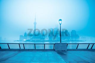 shanghai skyline in fog