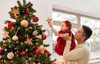 happy father and baby girl decorate christmas tree