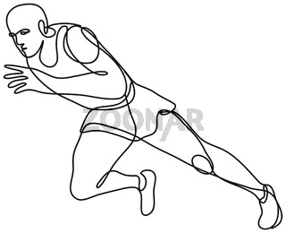 Track and Field Athlete Running Start Continuous Line Drawing