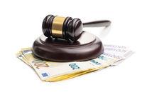 Euro money and judge gavel.
