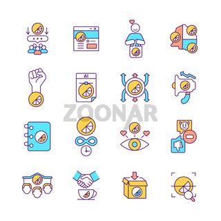 Brand promotion RGB color icons set