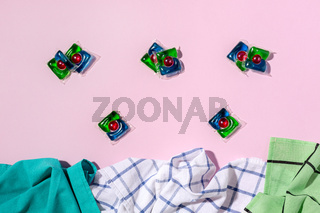 Laundry capsules and towels.