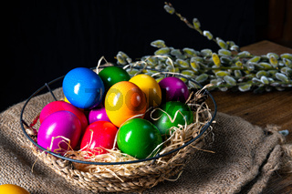 Colorful Easter eggs, an atmospheric decoration