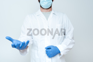 Doctor Explaining Medical Terms, Scientist Teaching Laboratory Safety, Chemist Science Lectures Discussions, Wearing Occupation Workwear Protective Gears
