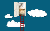 Ladder into the doorway of better life