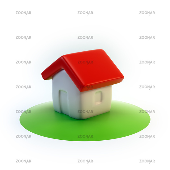 cartoon 3D house icon