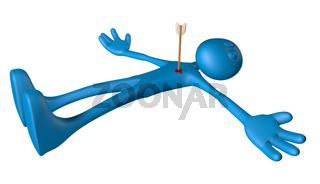 blaue figur mit pfeil in der brust - 3d illustration