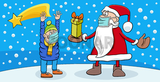 greeting card with Santa Claus and boy on Christmas Time