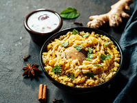Pakistani chicken biryani rice, copy space, banner