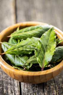 Fresh green bay leaves in wooden bowl.