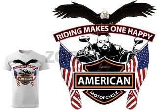 Motorcyclist T-shirt Design with Slogan