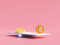 Bitcoin coin vs traditional currency coins on balancing scales. Bitcoin growth. Financial transactions in blockchain. Cryptography concept. 3d rendering in cartoon minimal style