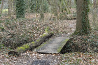 Simple wooden bridge on the border of the Netherlands and Germany