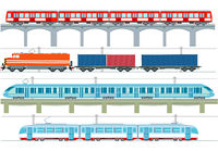 Set of modern passenger trains, subway transport, high speed trains and subway train, tram, cargo tr