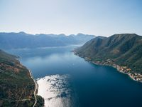 Photo from a drone, from a bird's-eye view - Kotor Bay, Montenegro, Near Perast.