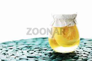 Canned sugared lemon slices in sweet syrup, food and dessert