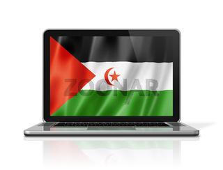 Sahrawi flag on laptop screen isolated on white. 3D illustration