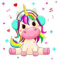 Baby unicorn with headphones