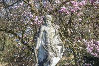FRANKFURT AM MAIN, DEUTSCHLAND - 2. April 2021- Statue von Pluto vor einem blühenden Magnolienbaum im Palmengarten