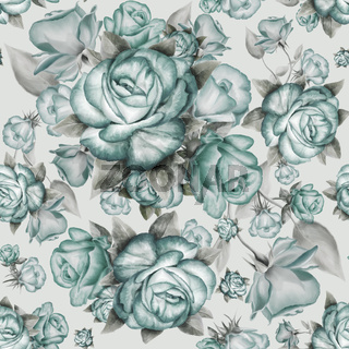 Seamless pattern with blue roses and gray leaves on background.