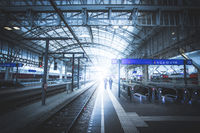 Travelling scene on a train station, public transport: rail platform or track