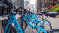 Rental bikes in the streets of Chicago - CHICAGO, USA - JUNE 12, 2019