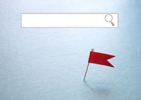 red pin locator flag with blank internet search window