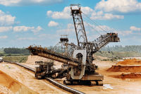 Giant bucket wheel excavator. The biggest excavator in the world. The largest land vehicle. Excavator in the mines.