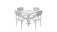 3D rendering of table and chairs dinning set up isolated on white background